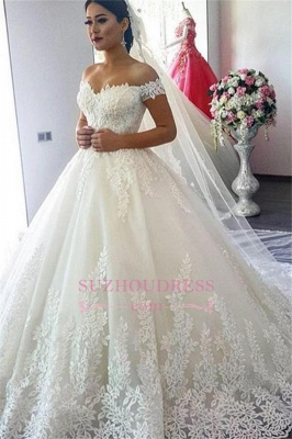 A-Line Applique  Off The Shoulder Lace Wedding Dress CC0027_2