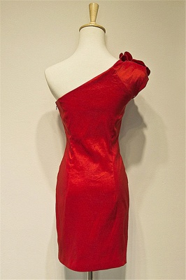 Red One-shoulder Sheath Mini Sexy Cocktail Dress Ruffle Flower Short Zipper  Bridesmaid Gowns_2