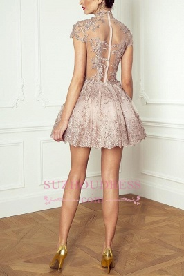Lace High-Neck Pink Short Long-Sleeve Elegant Homecoming Dresses BA7055_4