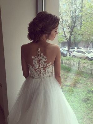 Sleeveless Lace Applique  A-Line Bridal Gowns Button Tulle Long Wedding Dress_5