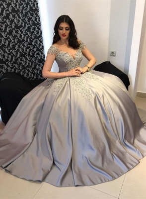 Glamorous Short Sleeves Appliques Evening Dresses | Party Ball Gown with Beadings_1