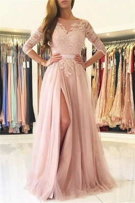 Half Sleeves Lace Appliques Pink Evening Dresses Front Split Tulle Prom Dress  BA7488_1