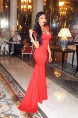 Red  Prom Dresses Straps Cap Sleeve Mermaid Chiffon Sweep Train Sexy Evening Gowns BA5265_3