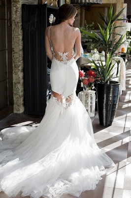 Sexy Backless Mermaid Wedding Dresses | Spaghetti Straps Appliques Bridal Gowns_3