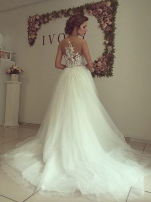 Sleeveless Lace Applique  A-Line Bridal Gowns Button Tulle Long Wedding Dress_3