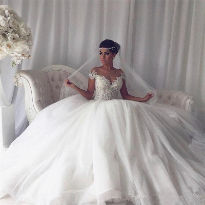 Beads Lace Royal Wedding Dresses  | Princess Ball Gown Sheer Tulle Sexy Bridal Gowns_3