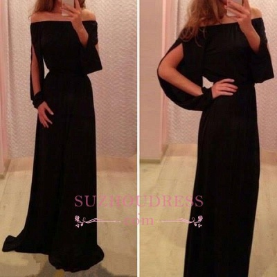 Summer Long-Sleeve Off-the-Shoulder A-Line Black Chiffon Prom Dresses BA4768_1