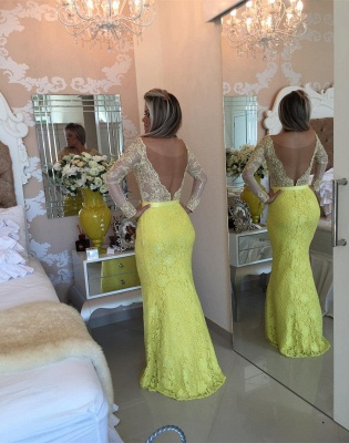 Yellow Long Sleeve Mermaid  Evening Dress Lace Beaded Prom Gown IG008 BMT128_3