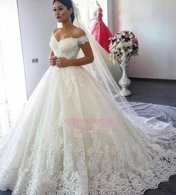 A-Line Applique  Off The Shoulder Lace Wedding Dress CC0027_1