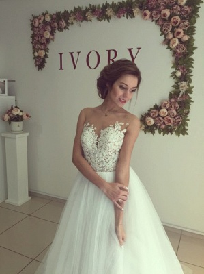 Sleeveless Lace Applique  A-Line Bridal Gowns Button Tulle Long Wedding Dress_4