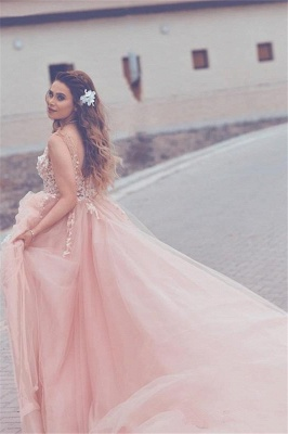 Elegant Pink Tulle A-Line Prom Dresses  Sleeveless Appliques Evening Gowns_5