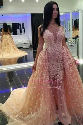 Puffy Pink Mermaid Prom Dress  Sexy Dubai Muslim Detachable-Train Evening Dresses BA6303_3