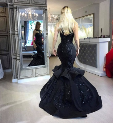 Black Mermaid Beads Prom Dresses | Appliques  Sexy Evening Dresses  FB0267_3