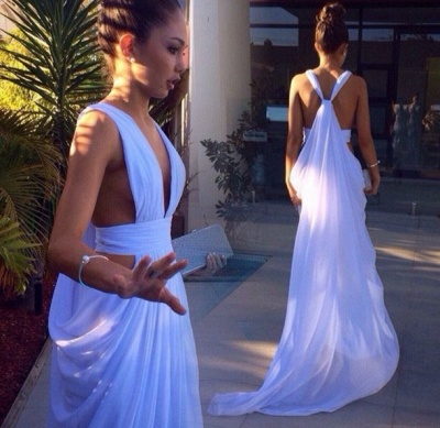 White  Prom Dress Long Straps Sleeveless Sheath See Through Chiffon Charming  Evening Gowns_2