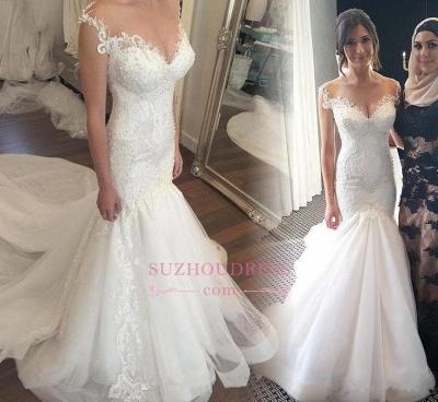 Button Mermaid mermaid Sweetheart Charming Tulle Zipper Lace Beadings Wedding Dress_1