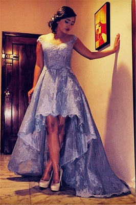 Elegant A-Line Hi-Lo Lace Prom Dress Latest Sweep Train Plus Size Formal Occasion Dresses_2