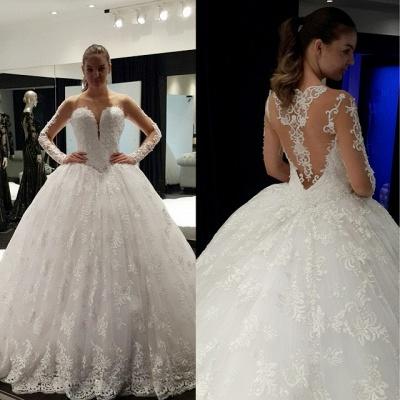 Vintage Long Sleeve Ball Gown Princess Dress Lace Crystal Floor Length  Wedding Dress_2
