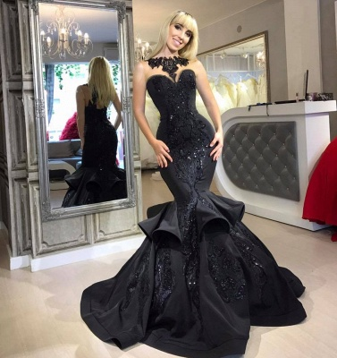 Black Mermaid Beads Prom Dresses | Appliques  Sexy Evening Dresses  FB0267_4