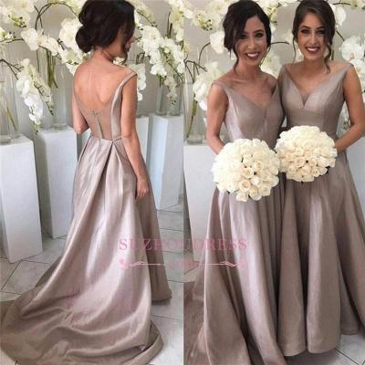 Sheer-Tulle V-neck Stretch-Satin Simple Open-Back Sleeveless Bridesmaid Dress_1