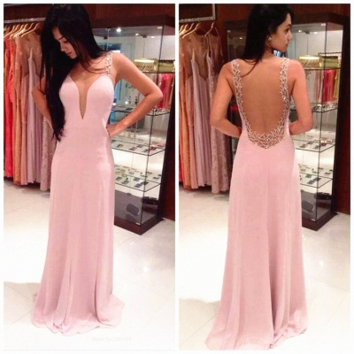 New Dresign Sexy Pink  Prom Dress Chiffon Backless Beading Evening Dress_2