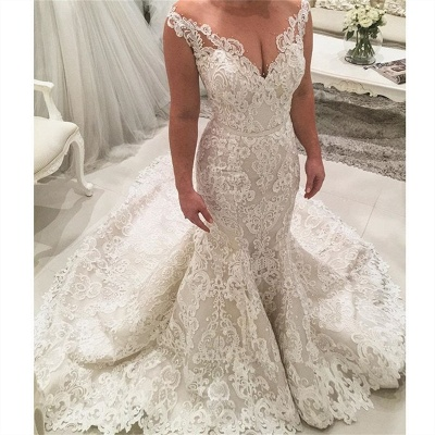 Chic Appliques Wedding Dresses with Long Train Mermaid Lace Bridal Gowns On Sale_3