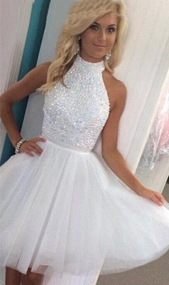 White Crystal High Collar Short Homecoming Dresses Tulle Sleeveless Mini Cocktail Gowns_1
