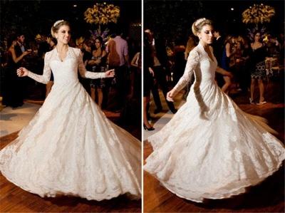 Vintage White Long Sleeve Lace Wedding Dress A-Line Vestidos De Noiva Formal Bridal Gowns_3