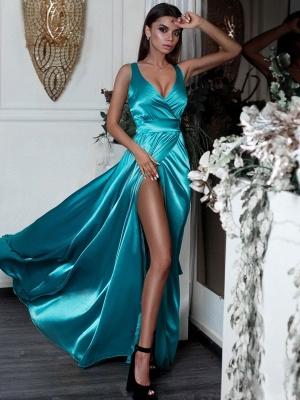 Turquoise Silk Satin Sexy Evening Dresses  | V-neck Split Sleeceless Formal Dresses 2019 BC0244_3