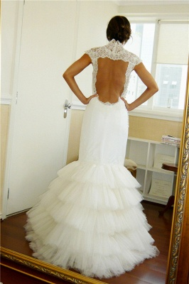 Puffy Tulle Skirt Wedding Dresses Mermaid Open Vack Lace  Bridal Gowns Tiered_3