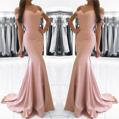 Mermaid Pink Off The Shoulder Formal Dress Simpe Elegant Long Evening Dress  FB0082_3
