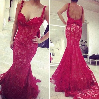Popular Red Lace Straps Evening Dresses Mermaid Backless Sexy Prom Gowns_3