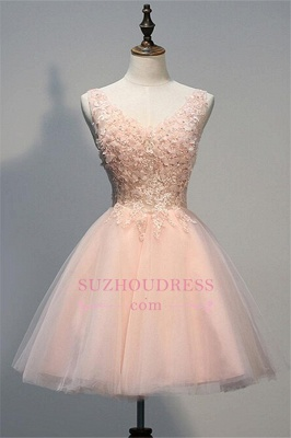 Appliques Short Tulle A-line Sleeveless V-Neck Pink Homecoming Dress_1