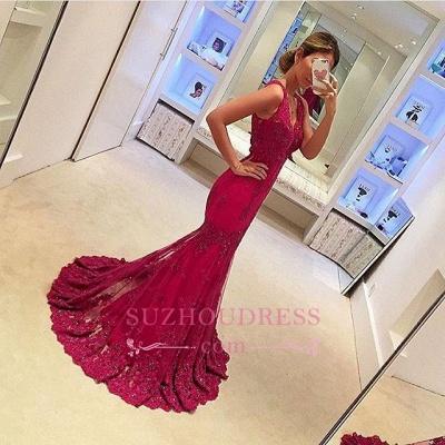 Appliques Glamorous Sleeveless Mermaid Evening Gowns  V-Neck  Prom Dresses_1