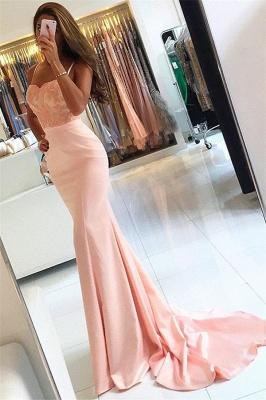 Newest Sleeveless Lace Evening Dress Appliques Mermaid Spaghetti-Strap Prom Dress  BA6115_1