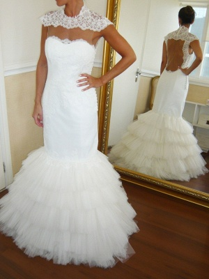 Puffy Tulle Skirt Wedding Dresses Mermaid Open Vack Lace  Bridal Gowns Tiered_1