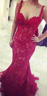 Popular Red Lace Straps Evening Dresses Mermaid Backless Sexy Prom Gowns_1