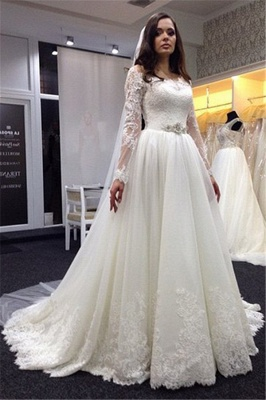 Lace Vestidos De Noiva Plus Size Wedding Dresses Long Sleeve Scoop Neck Bridal Gown with White Veil_3