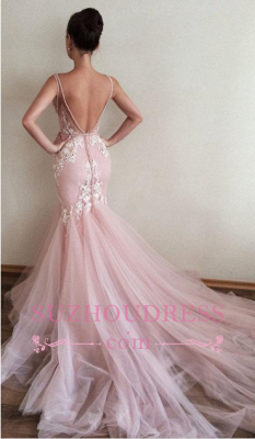 Pink V-Neck Appliques Tulle long Lace Sleeveless Mermaid Evening Dresses_3