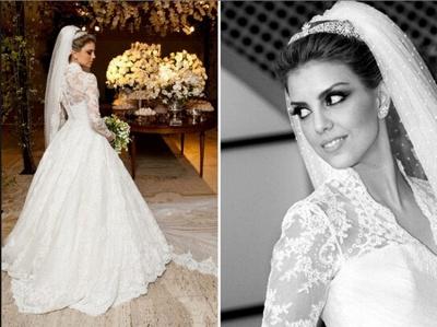Vintage White Long Sleeve Lace Wedding Dress A-Line Vestidos De Noiva Formal Bridal Gowns_4