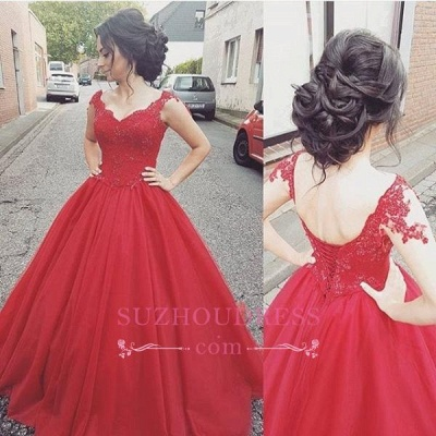 Tulle Straps Lace-up Formal Dress Lace   Modern Prom Dress BA4632_1