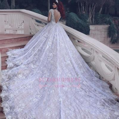 Luxury Sheer Muslim Cathedral Train  Crystal Beading Vintage Lace Wedding Dress BA6920_1