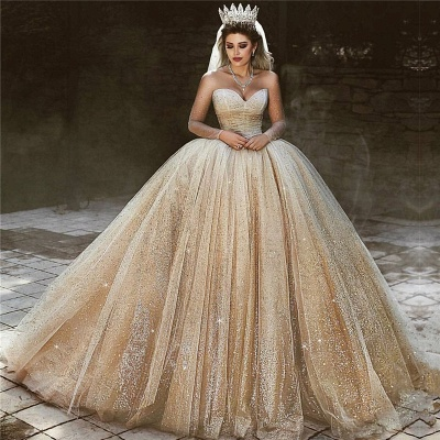 Luxury Champagne Gold Wedding Dresses  | Sequins Princess Ball Gown Royal Wedding Dresses_3
