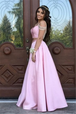 Pink Two Pieces Crystal Evening Dresses  A-line Prom Dress_1