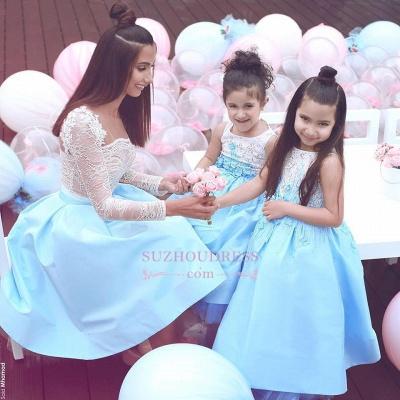Lace Elegant Sleeveless Appliques  Flower Girl Dresses_1