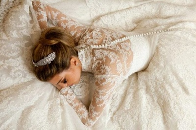 Vintage White Long Sleeve Lace Wedding Dress A-Line Vestidos De Noiva Formal Bridal Gowns_5