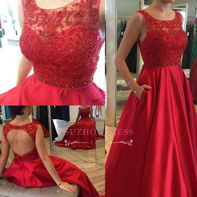 Applique Elegant Ruby Open-Back Long A-Line Sleeveless Prom Dresses_1