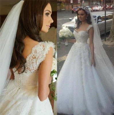 Vintage Spaghetti Strap Lace Bridal Gown A-Line Tulle Custom Made Wedding Dress_3