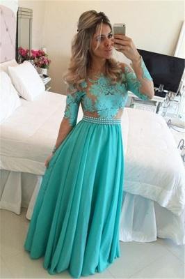 A-line Long Sleeve Chiffon Green Evening Dress Latest Lace Applique Open Back Prom Dress BO9348_3