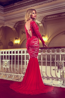 Sexy Red Lace Sweep Trian Evening Dress Mermaid Long Sleeve Backless Prom Dress_3