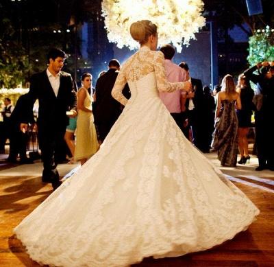 Vintage White Long Sleeve Lace Wedding Dress A-Line Vestidos De Noiva Formal Bridal Gowns_2